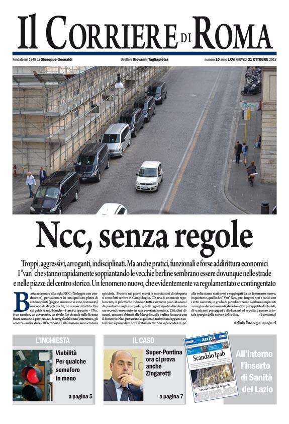 IL CORRIERE DI ROMA - GIOVEDI' 31 OTTOBRE 2013