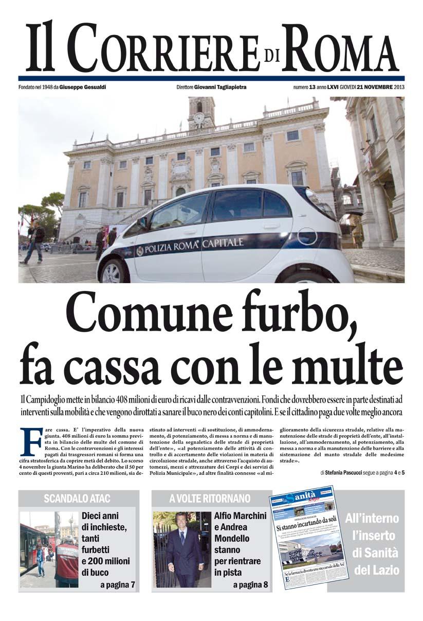 IL CORRIERE DI ROMA - GIOVEDI' 21 NOVEMBRE 2013