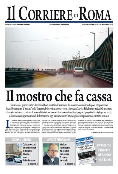 IL CORRIERE DI ROMA - GIOVEDI' 28 NOVEMBRE 2013