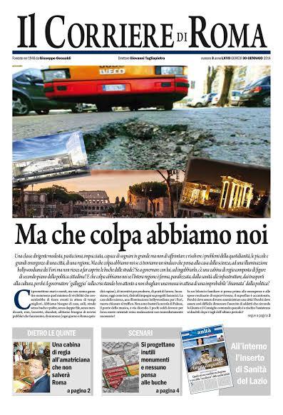 IL CORRIERE DI ROMA - GIOVEDI' 30 GENNAIO 2014