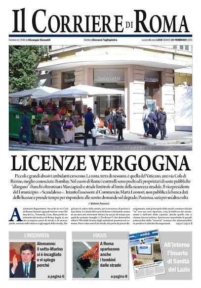 IL CORRIERE DI ROMA - GIOVEDI' 20 FEBBRAIO 2014