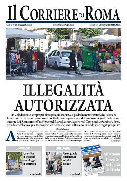 IL CORRIERE DI ROMA - GIOVEDI' 27 FEBBRAIO 2014