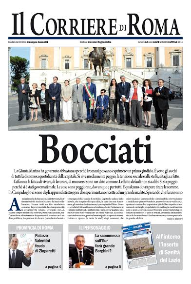 IL CORRIERE DI ROMA - GIOVEDI' 3 APRILE 2014