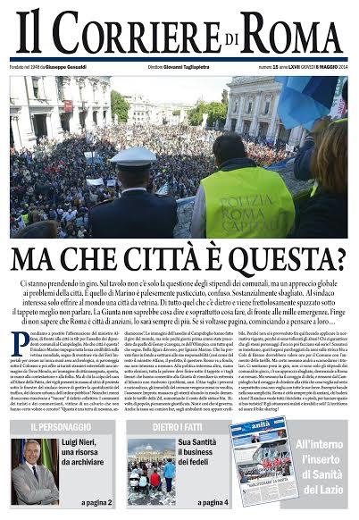 IL CORRIERE DI ROMA - GIOVEDI' 8 MAGGIO 2014