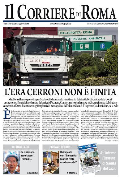 IL CORRIERE DI ROMA - GIOVEDI' 22 MAGGIO 2014