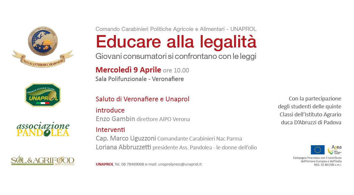 Educazione alla legalità al SOL di Verona. Collaborazione Carabinieri NAC, Unaprol, Aipo e Pandolea
