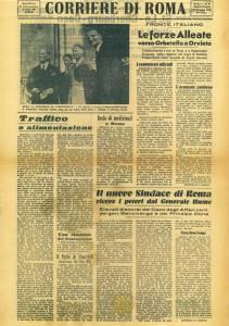 La prima pagina del Corriere di Roma di allora