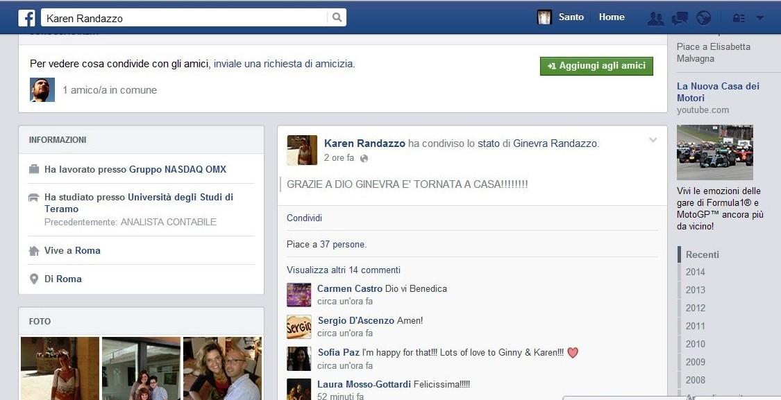 Ginevra Randazzo torna a casa. L'annuncio della madre con un post su Facebook
