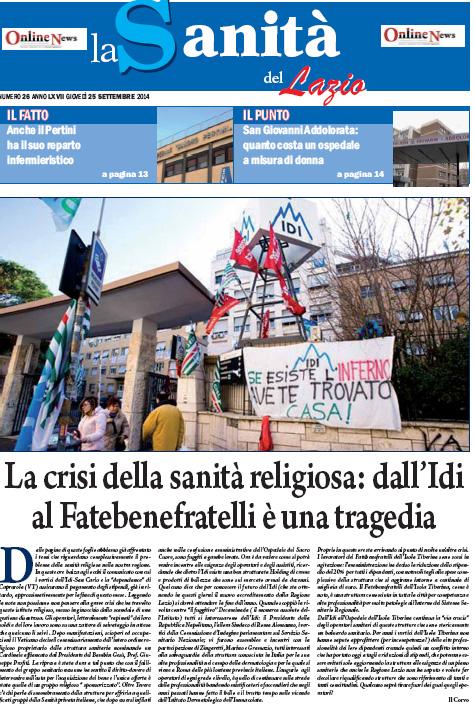 LA SANITA' DEL LAZIO - GIOVEDI' 25 SETTEMBRE 2014