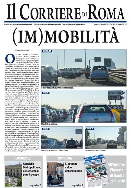 IL CORRIERE DI ROMA - GIOVEDI' 2 OTTOBRE 2014