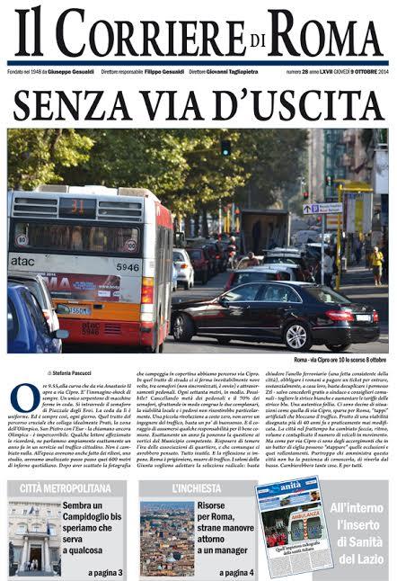 IL CORRIERE DI ROMA - GIOVEDI' 9 OTTOBRE 2014
