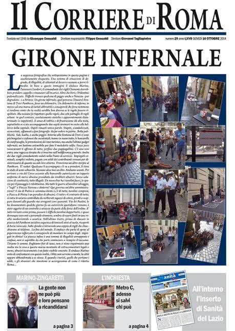 IL CORRIERE DI ROMA - GIOVEDI' 16 OTTOBRE 2014