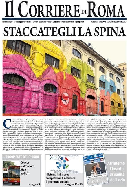 IL CORRIERE DI ROMA - GIOVEDI' 6 NOVEMBRE 2014