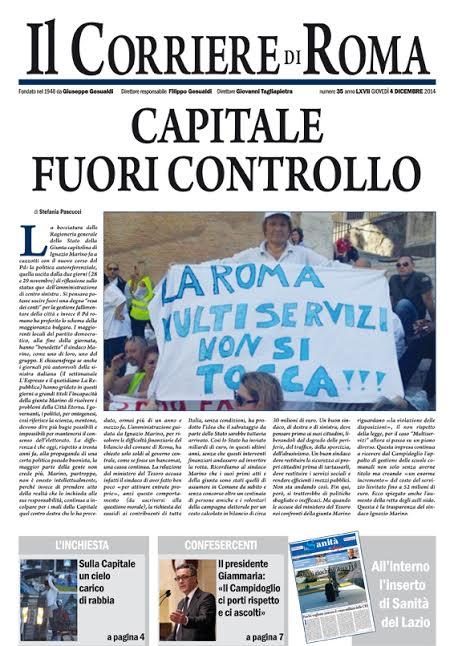 IL CORRIERE DI ROMA - GIOVEDI' 4 DICEMBRE 2014