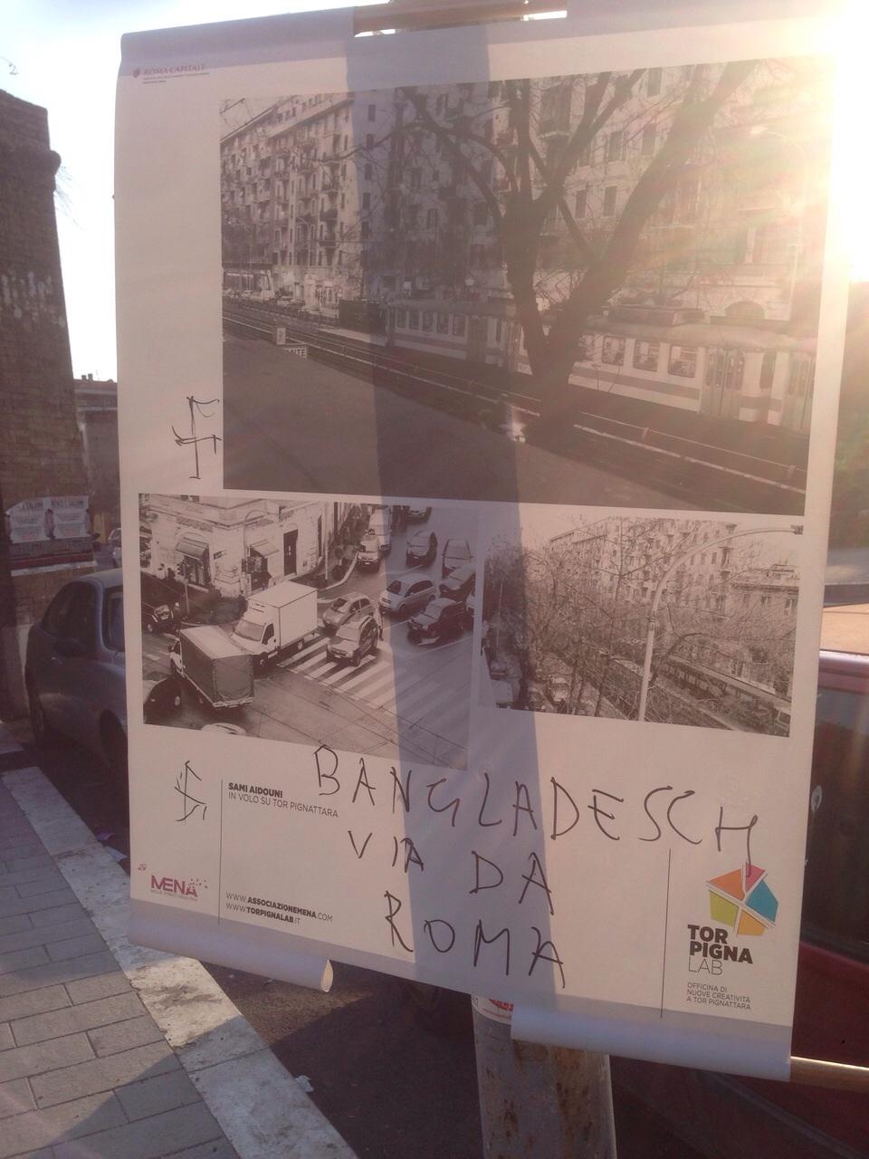 Tor Pignattara, svastiche sui pannelli della mostra multietnica. Panecaldo: