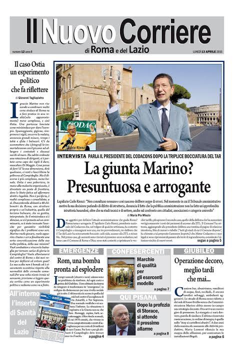 IL NUOVO CORRIERE DI ROMA E DEL LAZIO - LUNEDI' 13 APRILE 2015