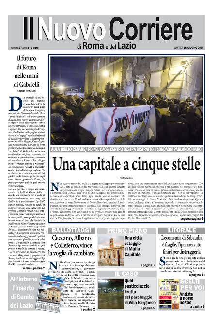 IL NUOVO CORRIERE DI ROMA - MARTEDI' 16 GIUGNO 2015