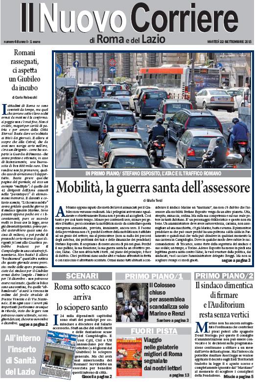 IL NUOVO CORRIERE DI ROMA E DEL LAZIO - MARTEDI' 22 SETTEMBRE 2015