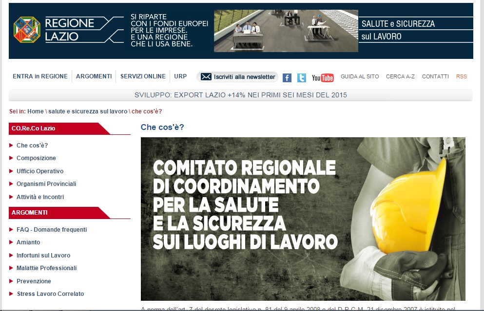 Lazio, on line il sito su comitato salute e sicurezza nei luoghi di lavoro
