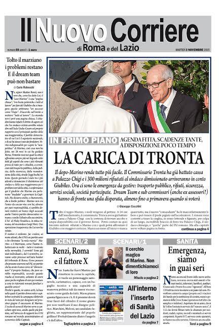 IL NUOVO CORRIERE DI ROMA E DEL LAZIO - MARTEDI' 3 NOVEMBRE 2015