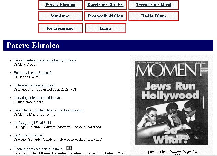 Blacklist di ebrei sul web, indaga la procura di Roma