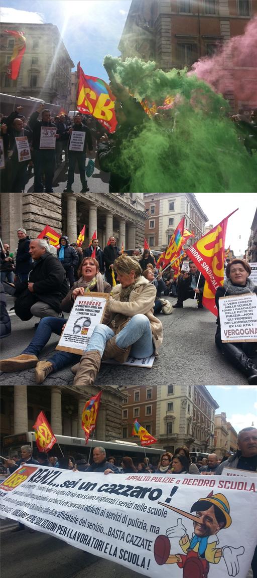 Scuola, proteste delle maestre in via del Corso