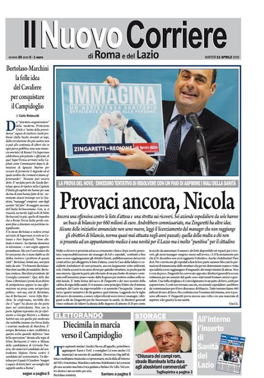 IL NUOVO CORRIERE DI ROMA E DEL LAZIO - MARTEDI' 12 APRILE