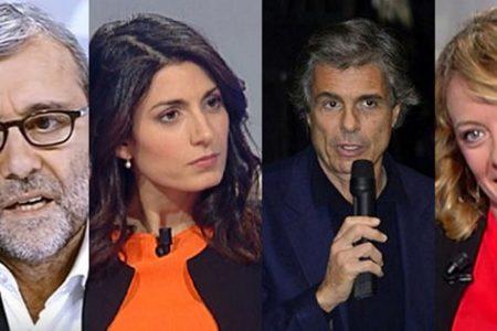 """Primo confronto a tre per i candidati a sindaco. E su Fb Raggi (assente) esclama: """"ci vediamo il 31 trasformisti dell'ultima ora"""""""