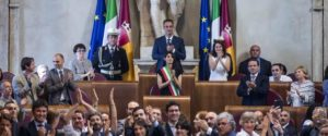 A view of Julius Caesar Hall of Campidoglio Palace, Rome's City Hall, during Rome's anti-establishment 5-Star Movement (M5S) Mayor Virginia Raggi (C) first council meeting, Rome, 07 July 2016. ANSA/ ANGELO CARCONI