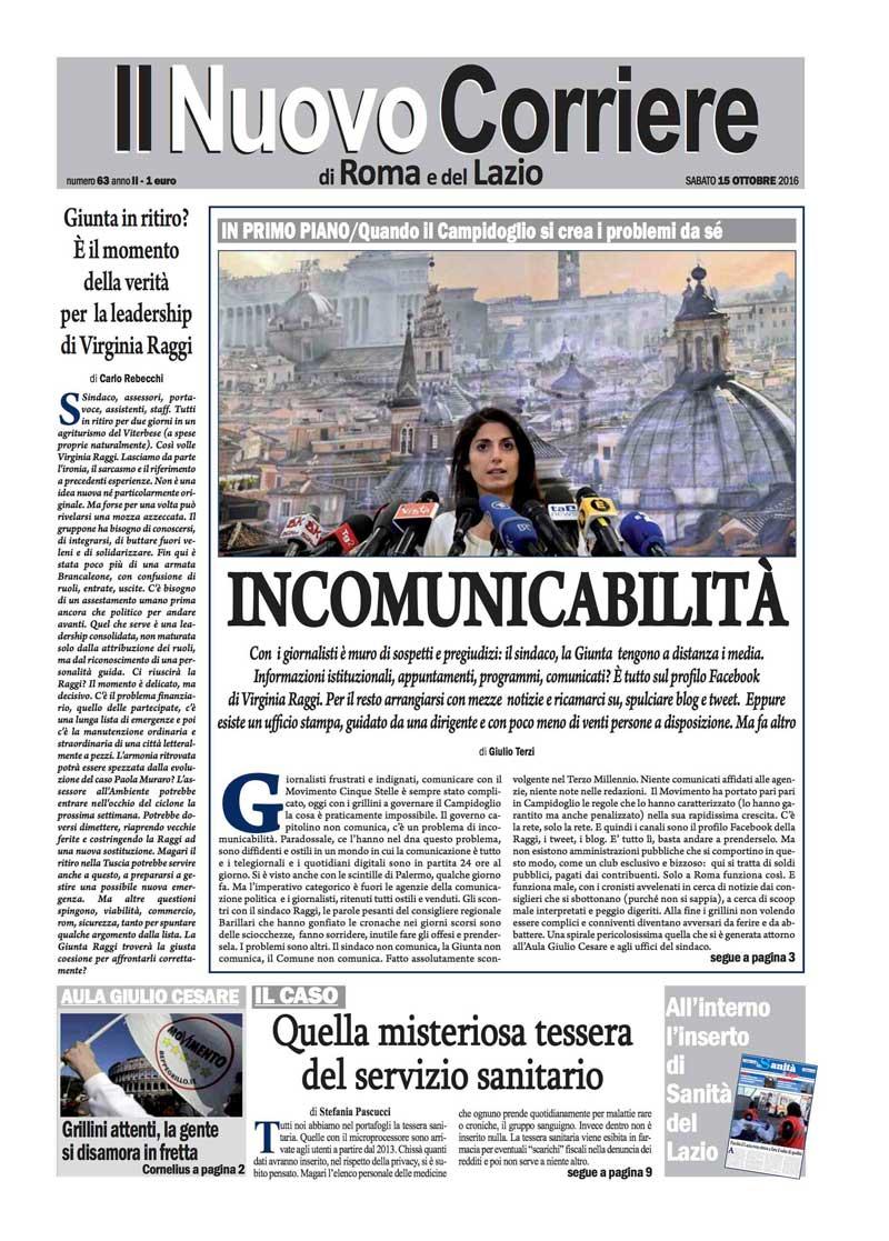 Il Nuovo Corriere di Roma e del Lazio – NUMERO 63 ANNO II – SABATO 15 OTTOBRE 2016