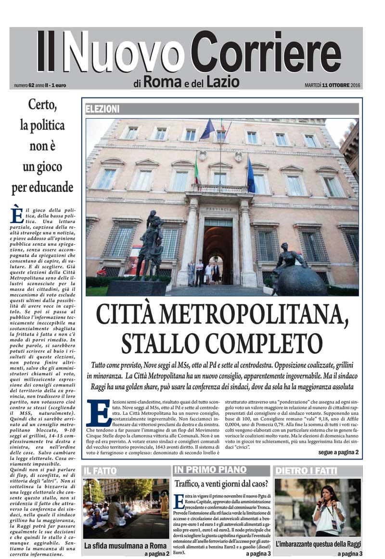 Il Nuovo Corriere di Roma e del Lazio – NUMERO 62 ANNO II – MARTEDI' 11 OTTOBRE 2016
