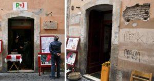 Circolo Pd Roma, targa sede Pci via Giubbonari in cassaforte