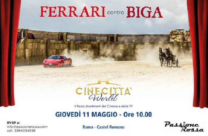 A Cinecittà World l'11 maggio sfida tra una biga e una Ferrari