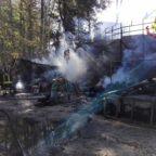 Rieti, vasto incendio nell'area camping del Monte Terminillo
