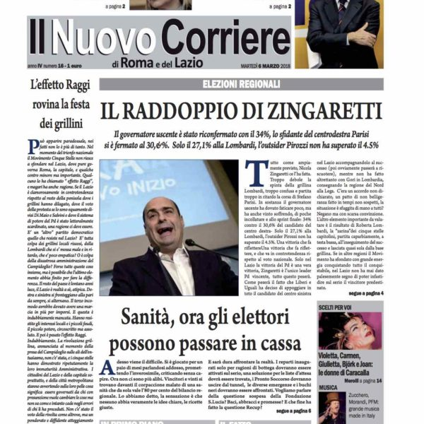Il Nuovo Corriere n.16 del 6 marzo 2018