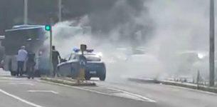 VATICANO – Autobus a fuoco, fumo e fiamme in strada