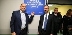 Il presidente della Regione Lazio Nicola Zingaretti In visita al reparto dell'SPDC al San Filippo Neri