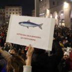 Sardine invadono San Giovanni, è sfida alla politica