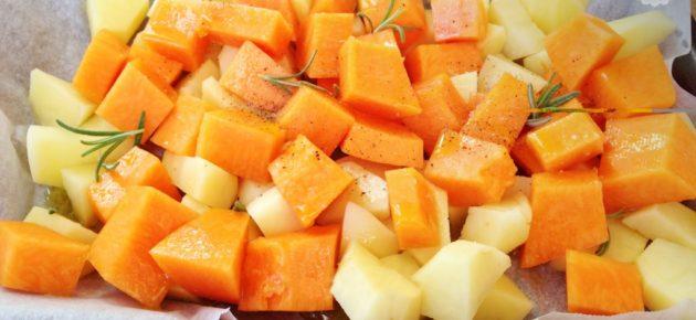 Dadolata di zucca e patate al timo