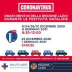 Coronavirus: Drive-In operativi durante le feste natalizie, ma con orario ridotto